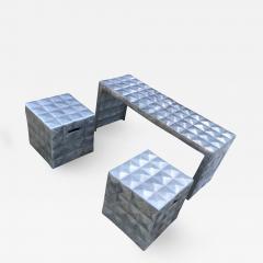 Paul Evans Modern Cube Side Tables Bench Set in Aluminum 1970s Paul Evans era - 1898493