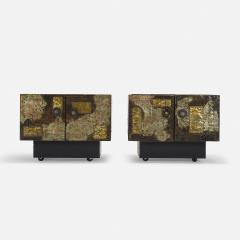 Paul Evans PAIR OF PAUL EVANS WELDED AND PATINATED STEEL PATCHWORK SIDE TABLES - 2169133