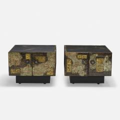 Paul Evans PAIR OF PAUL EVANS WELDED AND PATINATED STEEL PATCHWORK SIDE TABLES - 2169134