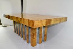 Paul Evans Paul Evans Burl Wood and Chrome Cityscape Dining Table - 1261303