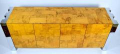 Paul Evans Paul Evans Cityscape Console in Burl Wood and Chrome - 1269883