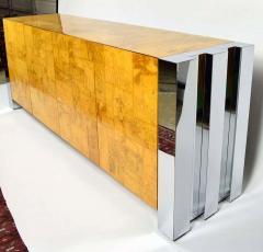 Paul Evans Paul Evans Cityscape Console in Burl Wood and Chrome - 1269886