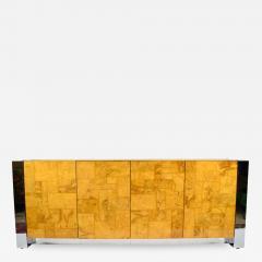 Paul Evans Paul Evans Cityscape Console in Burl Wood and Chrome - 1270861