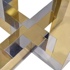Paul Evans Paul Evans Cityscape Dining Table in Tessellated Chrome and Brass 1970s - 1695003