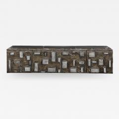 Paul Evans Paul Evans Important Sculpted Bronze Wall Cabinet 1969 Signed  - 2122825