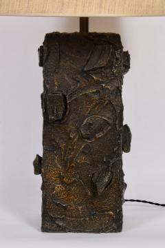 Paul Evans Paul Evans Sculpted Bronze Resin Relief Brutalist Table Lamp Early 1960s - 1663018