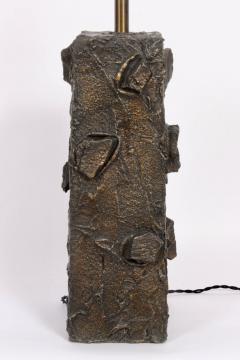 Paul Evans Paul Evans Sculpted Bronze Resin Relief Brutalist Table Lamp Early 1960s - 1663020