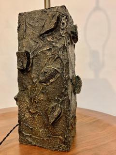 Paul Evans Paul Evans Sculpted Bronze Resin Relief Brutalist Table Lamp Early 1960s - 1663027