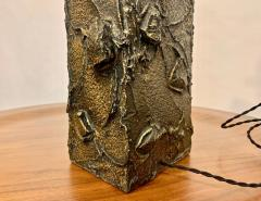 Paul Evans Paul Evans Sculpted Bronze Resin Relief Brutalist Table Lamp Early 1960s - 1663030