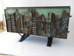 Paul Evans Rare American Modern Steel Sculpted Vermont Slate Credenza Unique Paul Evans - 1306518