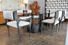 Paul Evans Set of Six Paul Evans Brutalist Sculpted Bronze and Resin Dining Chairs 1972 - 1133033