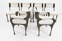 Paul Evans Set of Six Paul Evans Brutalist Sculpted Bronze and Resin Dining Chairs 1972 - 1133036