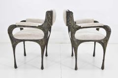 Paul Evans Set of Six Paul Evans Brutalist Sculpted Bronze and Resin Dining Chairs 1972 - 1133037