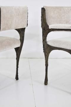 Paul Evans Set of Six Paul Evans Brutalist Sculpted Bronze and Resin Dining Chairs 1972 - 1133038