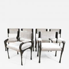 Paul Evans Set of Six Paul Evans Brutalist Sculpted Bronze and Resin Dining Chairs 1972 - 1133345