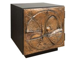 Paul Evans Side Table With Vintage Brutalist Style Door After Paul Evans Studio - 566811