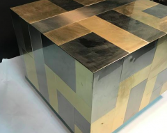 Paul Evans Unusual Cube Shaped Brass and Chrome Patchwork Table by Paul Evans - 411419