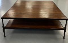 Paul Ferrante Huge Paul Ferrante Wrought Iron Walnut Square Coffee Table - 2029685