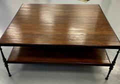 Paul Ferrante Huge Paul Ferrante Wrought Iron Walnut Square Coffee Table - 2029686