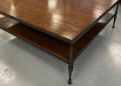 Paul Ferrante Huge Paul Ferrante Wrought Iron Walnut Square Coffee Table - 2029689