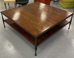 Paul Ferrante Huge Paul Ferrante Wrought Iron Walnut Square Coffee Table - 2029690