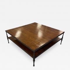 Paul Ferrante Huge Paul Ferrante Wrought Iron Walnut Square Coffee Table - 2030239