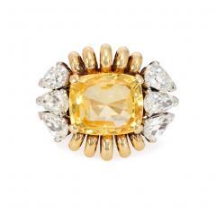 Paul Flato Paul Flato Retro Yellow Sapphire Diamond and Gold Cocktail Ring - 1425722