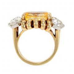 Paul Flato Paul Flato Retro Yellow Sapphire Diamond and Gold Cocktail Ring - 1425723