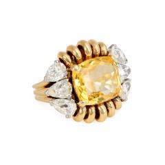 Paul Flato Paul Flato Retro Yellow Sapphire Diamond and Gold Cocktail Ring - 1426206