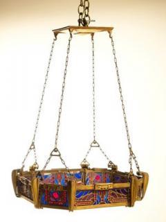 Paul Follot Paul Follot Bronze and Leaded Glass Ceiling Fixture - 1611857