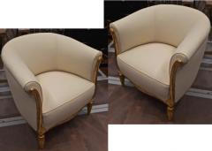 Paul Follot Paul Follot pair of gold leaf carved art deco chairs covered in raw silk - 1277044