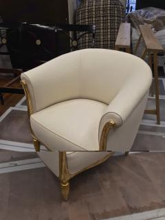 Paul Follot Paul Follot pair of gold leaf carved art deco chairs covered in raw silk - 1277045