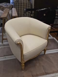 Paul Follot Paul Follot pair of gold leaf carved art deco chairs covered in raw silk - 1277046