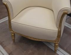 Paul Follot Paul Follot pair of gold leaf carved art deco chairs covered in raw silk - 1277048