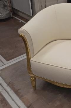 Paul Follot Paul Follot pair of gold leaf carved art deco chairs covered in raw silk - 1277049