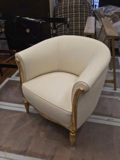 Paul Follot Paul Follot pair of gold leaf carved art deco chairs covered in raw silk - 1277050