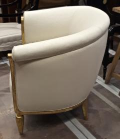 Paul Follot Paul Follot pair of gold leaf carved art deco chairs covered in raw silk - 1277052