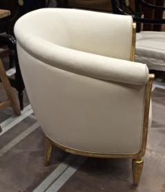 Paul Follot Paul Follot pair of gold leaf carved art deco chairs covered in raw silk - 1277053