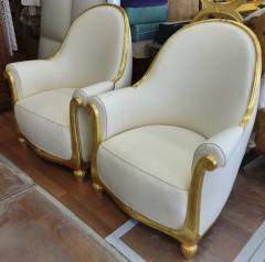 Paul Follot Paul Follot pair of gold leaf carved art deco comfy corbeille chairs - 1415719