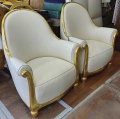 Paul Follot Paul Follot pair of gold leaf carved art deco comfy corbeille chairs - 1415720