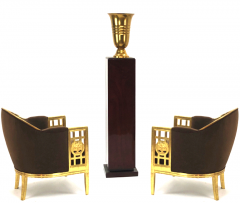 Paul Follot Paul Follot pair of gold leaf carved wood arm chairs - 828304