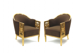 Paul Follot Paul Follot pair of gold leaf carved wood arm chairs - 828305