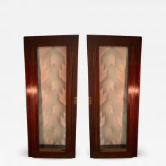 Paul Frankl FOUR ART DECO WOOD BRASS GLASS SKYSCRAPER DOORS IN THE STYLE OF PAUL FRANKL - 1766525