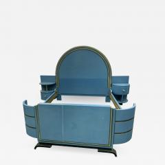 Paul Frankl HIGH STYLE MODERNIST ART DECO BED WITH UNIQUE ASYMMETRICAL NIGHT STANDS - 1164084
