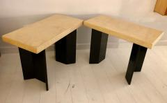 Paul Frankl Pair of Paul Frankl Ebonized Oak and Cork Console Tables - 1046972