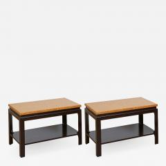Paul Frankl Pair of Two Tier Cork Top End Tables by Paul Frankl - 934960