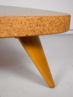 Paul Frankl Paul Frankl Bleached Mahogany and Waxed Cork Guitar Pick Coffee Table Model 5030 - 1452650
