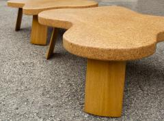 Paul Frankl Paul Frankl Cloud Coffee Tables in Natural Cork and Bleached Mahogany Pair 1951 - 2077368