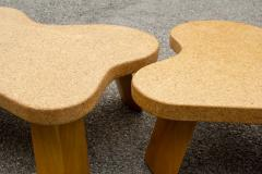 Paul Frankl Paul Frankl Cloud Coffee Tables in Natural Cork and Bleached Mahogany Pair 1951 - 2077370