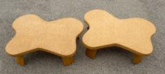 Paul Frankl Paul Frankl Cloud Coffee Tables in Natural Cork and Bleached Mahogany Pair 1951 - 2077372